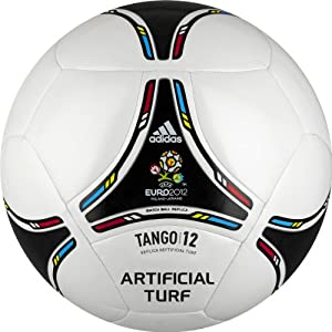 adidas Euro 2012 Replica Artificial Turf Ball (White, Black, Size 3)