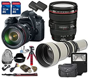 Canon EOS 6D Digital SLR Camera with Canon EF 24-105mm f/4L IS USM Lens + 650-1300mm f/8-16 T-Mount Lens - International Model
