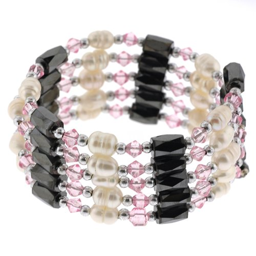 Magnetic Wrap Necklace/Bracelet - Pink Bicone with Pearls - 32'' in Length