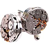 PlusFive Steampunk Vintage Watch Movement Cufflinks for Mens Wedding Christmas Gift Pack of Two