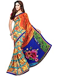 AG Lifestyle Women's Faux Georgette Saree(KVY4005, Orange & Blue)