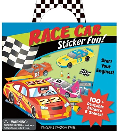 Peaceable Kingdom Sticker Fun! Race Car Reusable Sticker Tote - 1