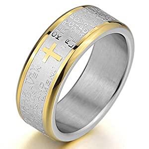 JBlue Jewelry Men's Stainless Steel Ring Band Silver Gold Bible Lords Prayer Cross Vintage Wedding (with Gift Bag) from JBlue Jewelry