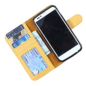 Dooda Genuine Leather Wallet Flip Case For Lava Xolo Q1000s (YELLOW)