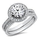 Sterling Silver Cubic Zirconia Halo 3.3 Carat tw Round Brilliant Cut CZ Wedding Engagement Ring Set Sz 12