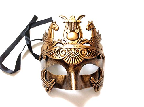 Mens Roman Gladiator Thor Mask Venetian Horse Metallic Gold Party Mask