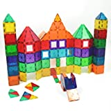 Award Winning Playmags Clear Colors Magnetic Tiles Deluxe Building Set 100 Piece Set with Car