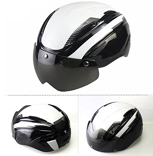 Ezyoutdoor Motorcycle Helmets Leather Unisex Helmet Vintage Harley Half Helmets 55-58 cm/21.6-23.6 inch with UV Goggles Bike Helmets (White)