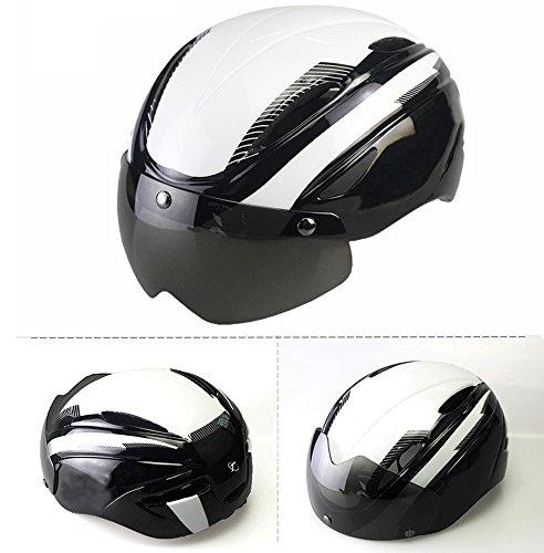 Ezyoutdoor Motorcycle Helmets Leather Unisex Helmet Vintage Harley Half Helmets 55-58 cm/21.6-23.6 inch with UV Goggles Bike Helmets (White)