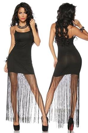 Silamoda - Femme - Robe courte et longue avec franges - Unique - Noir