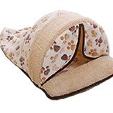 Ziwater あったかキャットベッド ペットハウス 犬猫 ドーム型 ふわふわベッド ペット用クッション 取り外し可能 室内用 (M, ベージュ)