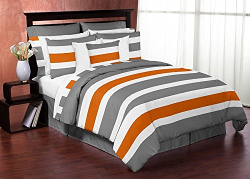 Sweet Jojo Designs Gray, Orange and White Stripe 4 Piece Childrens, Teen Boys Twin Bedding Set Collection