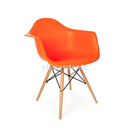 Mid Century Modern Eames Style DAW Orange Armchair with Dowel Wood Eiffel