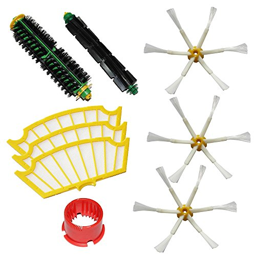 Shp-Zone Bristle Brush & Flexible Beater Brush & Side Brush 6-Armed & Filters & Cleaning Tool Pack Kit For Irobot Roomba 500 Series Roomba 510, 530, 535, 536, 540, 550, 551, 552, 560, 564, 570, 580, 610 Vacuum Cleaning Robots All Green, Red, Black Cleanin front-538403