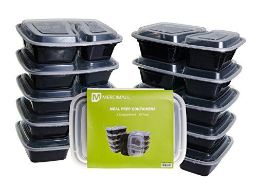 Mercimall Meal Prep Containers 10 Pack 2 Compartment Lunch Boxes Leakproof Food Storage (Lunch Container Disposable compare prices)