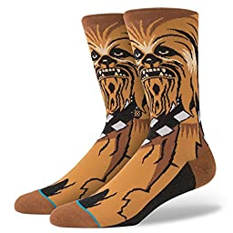 Stance Men\'s Chewie Crew Socks, Brown, Large