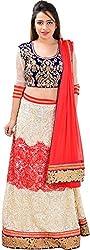Panchi Women's Red and White Net Lehenga (P-Mohini-1208)
