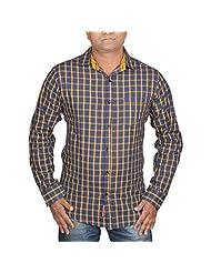 Hunk Men's Blue Cotton Shirt - B00TB60WZ2