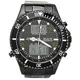 [エルジン]ELGIN 腕時計 電波 ソーラー アナデジウォッチ 100M防水 オールブラック FK1349B-BP メンズ