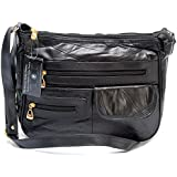 LADY'S REAL LEATHER SHOULDER BAG IN BLACK SOFT SMOOTH DESIGNER CROSS BODY HANDBAG WITH LEATHER PURSE