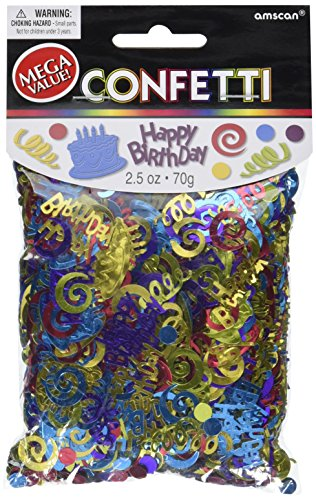 Amscan Happy Birthday Type Embossed 2 1/2 ounces of Confetti