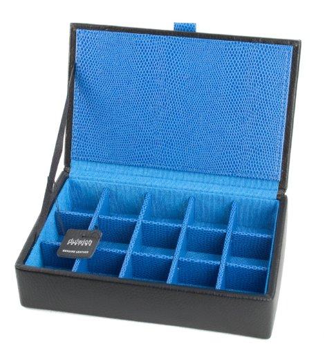 Dulwich Boîte de rangement pour boutons de manchette en cuir noir 15 compatiments