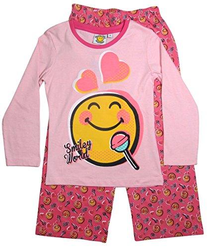 Smiley Pyjama 2015 Kollektion 110 116 122 128 134 140 146 152 Schlafanzug Lang Mädchen Nachtwäsche Rosa-Darkrosa (122 - 128)