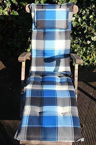 SUN GARDEN Deckchair Auflage Naxos mit Kopfpolster Maße ca. 192x49x6cm Dessin 10236-101 Blau kariert