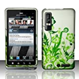 Apple Green Floral Vine On Silver Premium Design Motorola Droid 3 Rubber To ....