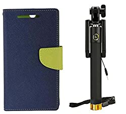 Novo Style Wallet Case Cover For Samsung GalaxyJ1 Ace Blue + Wired Selfie Stick No Battery Charging Premium Sturdy Design Best Pocket SizedSelfie Stick