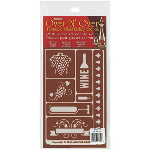 Armour Products Over N Over Glass Etching Stencil, 5-Inch by 8-Inch, Wine Time (Glass Painting Stencils compare prices)