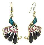 Antique Gold Tone Turquoise Colored, Pink, Green Crystals and Black Faux Gems Peacock Earrings for Women