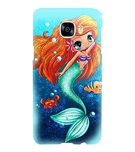 Printvisa Blue Mermaid Pattern Back Case Cover for Samsung Galaxy C5