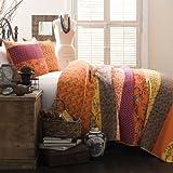Lush Decor Royal Empire 3-Piece Quilt Set, Full/Queen, Tangerine