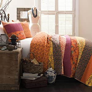 Lush Decor Royal Empire 3-Piece Quilt Set, Full/Queen, Tangerine