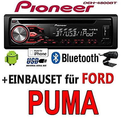 Ford Puma - Pioneer DEH-4800BT - CD/MP3/USB Bluetooth Autoradio - Einbauset