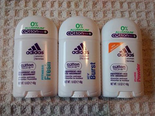 Adidas Deodorant for Women Multi Pack of Aluminum Free Fitness Fresh, Pure Powder and Icy Burst Deodorants 1.6 Oz Size