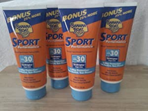 Banana Boat Sport Performance Sunscreen Lotion,3 way protection sun-tested,sun proven [SPF 30] 10 0z (Pack of 4)