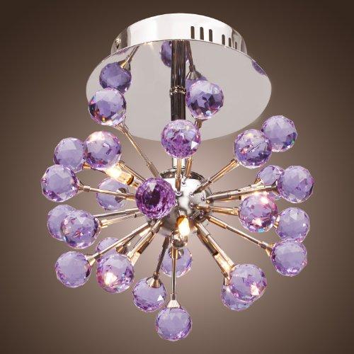 Lightinthebox® Modern 6-Light Floral Shape K9 Crystal Ceiling Light-Purple, Mini Style Flush Mount, Chandeliers For Game Room, Kids Room, Bedroom, Living Room front-891594