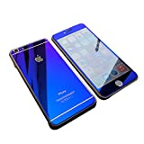【hayarifashion】iphone6 5.5/4.7インチ 衝撃保護ガラスフィルム 液晶保護フィルム 鏡面ミラーキラキラ光るバックプレート前後鏡面ガラスフィルム 前後セット 0.20mm 表面硬度9H iPhone6/6PLU5/5S/4/4SS対応 (iPhone5/5S, ブルー)