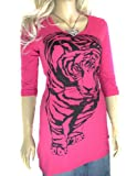 Ladies Hot Pink Tiger Tshirt Tunic long top in Sizes 14 - 20