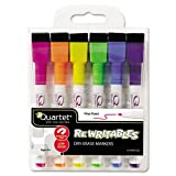 Quartet ReWritables Dry-Erase Mini Markers, 6-Marker Set with Cap-Mounted Erasers, Assorted Screamers Colors (51-661142Q)