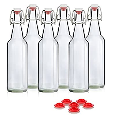 Swing Top Grolsch Glass Bottles 16oz - CLEAR - For Brewing Kombucha Kefir Beer (6 Set) Bonus Gaskets