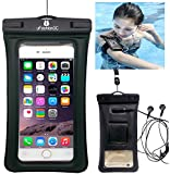 """uFashion3C Universal Clear Waterproof Case Bag Pouch [Floating] [with Audio Headphone Jack, Armband and Lanyard] for Apple iPhone 6 Plus, 6, 5S, 5C, 5, 4S, 4, Samsung Galaxy S6, S6 Edge, S5, S4, S3, Note 4 / 3 / 2 / 1, HTC One M9, M8, M7, Max, LG G4 G3 G2, Nexus 6, 5, 4, Sony Xperia Z3, Z2, Z1, Nokia Lumia 520, 630, 930, BlackBerry, Motorola MOTO G, X, E - Also fits other Smartphone, iTouch, MP3 player, up to 6.0"""" Diagonal - IPX8 Certified to 100 Feet Waterproof Function [Cheap Cell Phone Waterproof Life Pouch, Clear Dry Bag for ID Passport Credit Card Cash Wallet Keys] (Black)"""