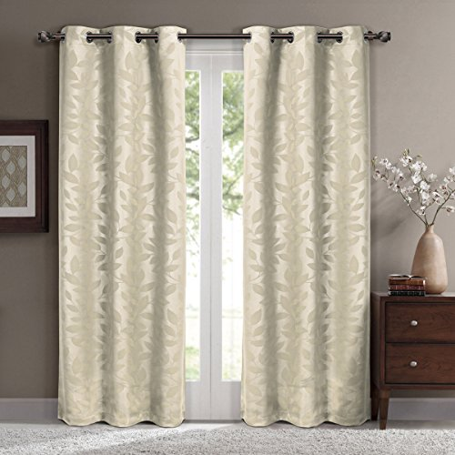Virginia Beige Grommet Blackout Weave Embossed Window Curtain Panels, Pair / Set of 2 Panels, 37x108 inches Each, by Royal Hotel (Royal Hotel Drapes compare prices)
