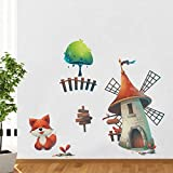 Rawpockets Decal ' Fox And Windmill House' Multi-Color Extra Large Size Wall Sticker(Material- PVC Vinyl Matte Finish,Wall Coverage Area -Height -90cm X Width -100cm)( Pack Of 1)