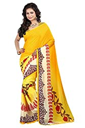 Pruthu Georgette Sari with Unstitched Blouse (pmadh_005_Yellow)