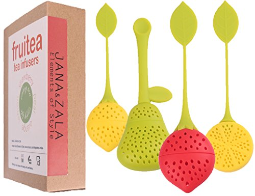Fruitea Tea Infuser - 4 Silicone Tea Strainers. Tea filter for Loose Leaf Tea in shape of fruits by J&Z (strawberry, pear, lemon and orange). Perfect Tea Set for tea cups and teapot. (Diffuser Teapot compare prices)