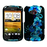 51iX9xwW7bL. SL160  iFase Brand HTC Desire C Cell Phone Blue Flower Protective Case Faceplate Cover