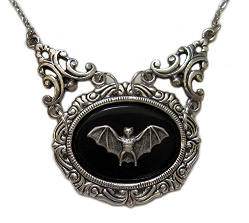 Gothic-Victorian-Silver-Framed-Bat-Cameo-Necklace